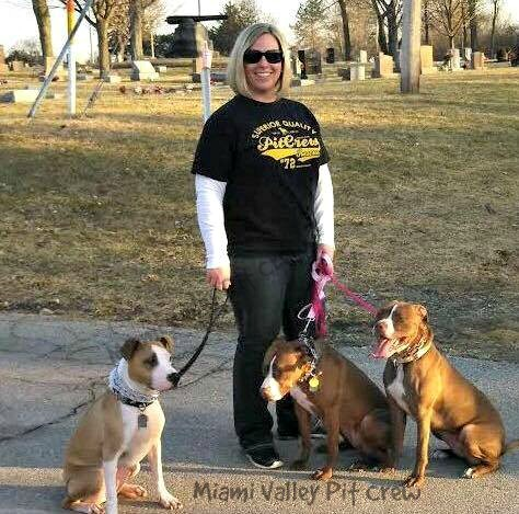 Director of MVPC walking rescue dogs