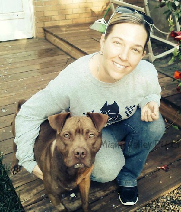 Collette and Chesty the Pit Bull